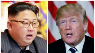 Un fotomontaje del líder norcoreano Kim Jong-un en Pyongyang, Corea del Norte, y el presidente estadounidense Donald Trump, en Palm Beach, Florida, EE. UU. (Archivos de Reuters).