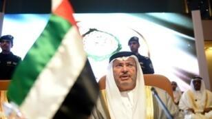 وزير الدولة الإماراتي للشؤون الخارجية أنور قرقاش في الرياض في 12 من نيسان/أبريل 2018.