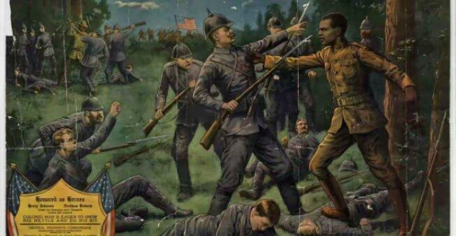 A lithograph published in 1918, titled 'Our Colored Heroes', depicts Henry Johnson's act of bravery.