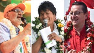 Los candidatos presidenciales Carlos Mesa, Evo Morales y Oscar Ortiz se enfrentan en la campaña presidencial.