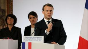 Emmanuel Macron lors de son discours pour la journée de lutte contre les violences faites aux femmes, à Paris le 25 novembre 2017.