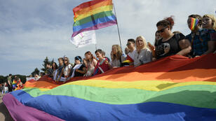 La gay pride à Saint-Pétersbourg en 2017.