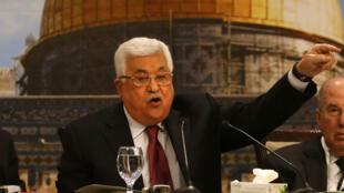 Le président de l'Autorité palestinienne Mahmoud Abbas lors d'un sommet du Conseil national palestinien à Ramallah, le 30 avril 2018