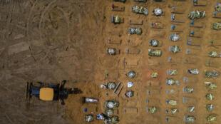 في ماناوس البرازيلية آلية تحفر قبورا جديدة في مقبرة نوسا سينيورا اباراسيدا في 24 كانون الثاني/يناير 2021