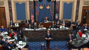 g argument during the second day of the Senate impeachment trial of U.S. President Donald Trump in this frame grab from video shot in the U.S. Senate Chamber at the U.S. Capitol in Washington, U.S., January 22, 2020.