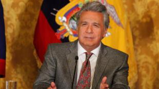 El presidente Lenín Moreno realiza un anuncio en el Palacio de Gobierno en Quito, el 3 de diciembre de 2018.