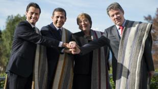Enrique Peña Nieto, Ollanta Humala, Michelle Bachelet et Juan Manuel Santos à la réunion de l'Alliance Pacifique en juillet 2016.