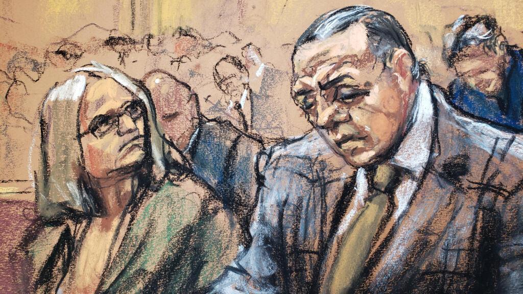 Ilustración de Cesar Sayoc durante el interrogatorio ante el juez.