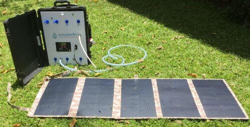 L'originalité de la solution de Sunwaterlife est que le dispositif se recharge à l'énergie solaire.