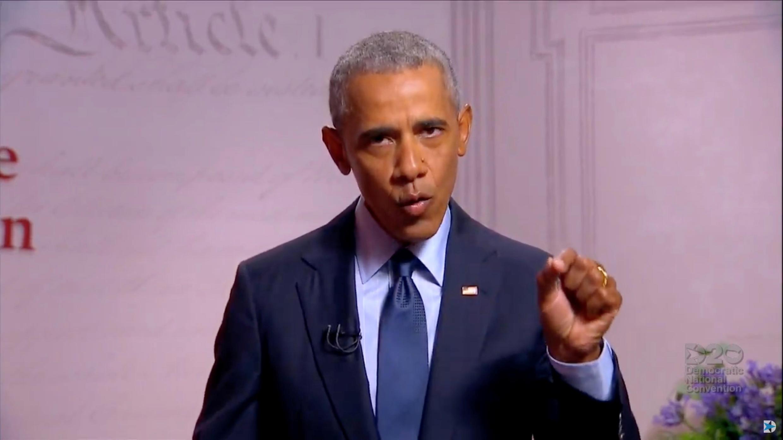 Barack Obama donne un discours à Philadelphie le 19 août 2020.