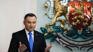 """Poland's President Andrzej Duda, pictured November 2018, told miners in the south of the heavily coal-reliant country that as long as he is in office, he """"won't allow for anyone to murder Polish mining"""""""