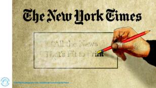 """""""The New York Times. Toutes les nouvelles qui méritent d'être imprimées"""" en train de se faire gommer. Le dessin de la semaine de Cartooning for Peace."""