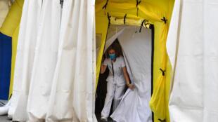 Hôpital de campagne à Lérida, dans le Nord-Est de l'Espagne, le 13 juillet 2020