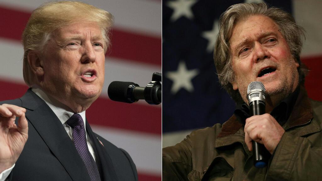Le président américain Donald Trump et son ancien conseiller spécial Steve Bannon.