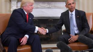 باراك أوباما ودونالد ترامب في البيت الأبيض في 10 تشرين الثاني/نوفمبر 2016