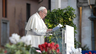 Le Pape François s'exprime lors d'une cérémonie interreligieuse à la Basilique Santa Maria à Aracoeli le 20 octobre.