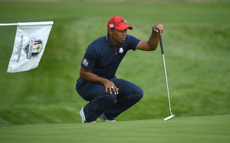 Le golfeur américain Tiger Woods lors de la Ryder Cup, organisée en septembre 2018 à Saint-Quentin-en-Yvelines, près de Paris.