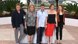"""From left to right, Benoït Magimel, Catherine Deneuve, Rod Paradot, Emmanuelle Bercot and Sara Forestier attend the photocall for Bercot's curtain-raiser, """"Standing Tall"""""""