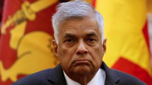 Le Premier ministre sri-lankais Ranil Wickremesinghe, lors d'une conférence de presse au Vietnam, en avril2017.