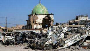 La mosquée al-Nouri, à Mossoul, le 9 juillet 2018, un an après sa reprise aux combattants de l'EI.