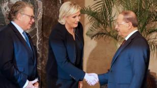 Marine Le Pen a rencontré lundi le président libanais Michel Aoun, principal objectif de sa visite au Liban.
