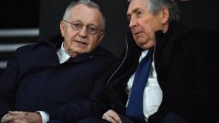 Le président de l'Olympique lyonnais Jean-Michel Aulas et son conseiller Gérard Houllier lors du match de Ligue 1 à Rennes, le 29 mars 2019