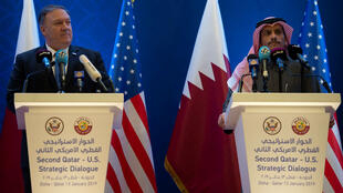 محمد بن عبد الرحمن مع مايك بومبيو في الدوحة 13 يناير/كانون الثاني 2019