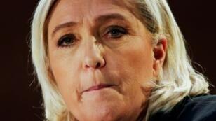 La présidente du Rassemblement nationale Marine Le Pen lors d'un meeting à Saint-Ebremond-de-Bonfossé le 9 février 2019