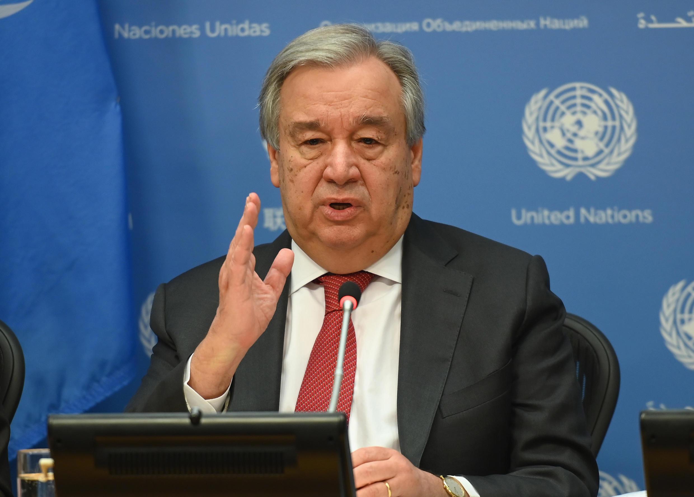 El secretario general de la ONU, António Guterres, en una conferencia de prensa en la sede de Naciones Unidas en Nueva York, febrero de 2020.