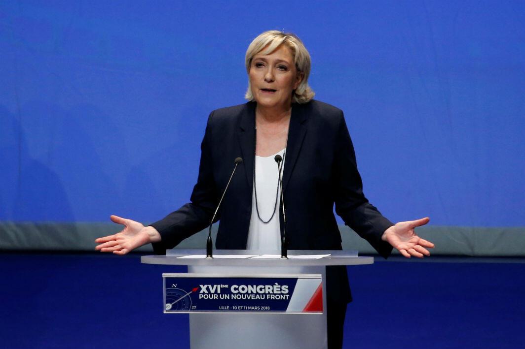 La líder del Frente Nacional, Marine Le Pen durante el XVI Congreso del partido en Lille, Francia.