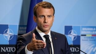 El presidente francés, Emmanuel Macron, durante una conferencia de prensa en el segundo día de la cumbre de la Organización del Tratado del Atlántico Norte (OTAN) en Bruselas, Bélgica, el 12 de julio de 2018.