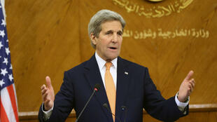 John Kerry; lors d'une conférence de presse, à Amman, en Jordanie, le 21 février 2016.