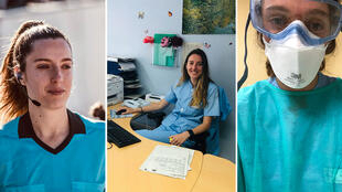 الحكم في الدوري الإسباني لكرة القدم، والممرضة إيراغارتزي فيرنانديز في ثلاث لقطات مختلفة لها في الملعب والمستشفى.