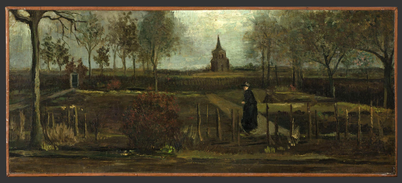 "Vincent van Gogh's 1884 painting ""Parsonage Garden at Neunen in Spring"" which was stolen from the Singer Laren Museum in Laren, March 30 2020."