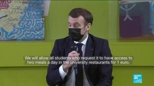 2021-01-21 17:13 France's Macron promises discounted meals to students amid growing economic distress due to Covid-19
