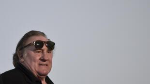 """Gérard Depardieu lors de la présentation du film """"La Diva de Staline"""", le 13 novembre 2016, à Lisbonne."""