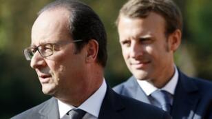 الرئيس الفرنسي المنتهية ولايته فرانسوا هولاند والرئيس المنتخب إيمانويل ماكرون