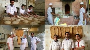 "Iranian bakers hard at work making traditional breads known as ""the barakat (blessing)of the table"""