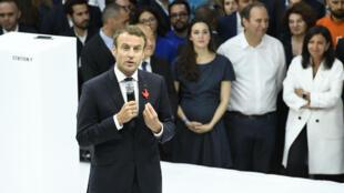 Emmanuel Macron, lors de l'inauguration de l'incubateur de start-up parisien Station F, en juin 2017.