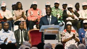 Le président Alassane Ouattara lors de la création du parti RHDP à Abidjan, le 16 juillet 2018.