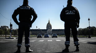 Paris police officers are carrying out checks of drivers as part of France's nationwide coronavirus lockdown.