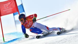 Le Français Alexis Pinturault lors de l'épreuve de slalom géant des JO de Pyeongchang, le 18 février 2018.