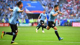 El delantero uruguayo Luis Suárez celebra el primer gol del partido contra Rusia.
