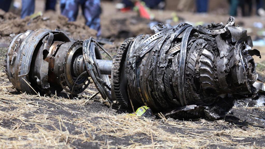 Parte de los motores del avión de Ethiopian Airlines