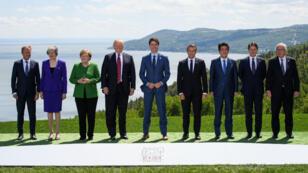 La traditionnelle photo de famille du G7 à La Malbaie, au Québec, le 8 juin 2018.