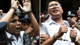Les journalistes birmans Kyaw Soe Oo (G) et Wa Lone après leur condamnation à sept ans de prison à Rangoun, le 3 septembre 2018