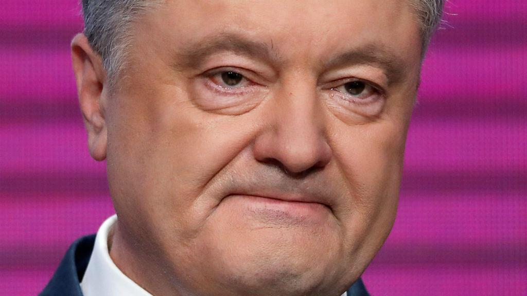 El presidente de Ucrania, Petro Poroshenko, pronunció un discurso en su sede de la campaña en Kiev, Ucrania, el 21 de abril de 2019, luego de conocer su derrota en las elecciones presidenciales.