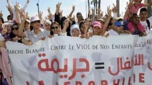 تظاهرة ضد الاعتداءات الجنسية على الأطفال في الدار البيضاء في 2013