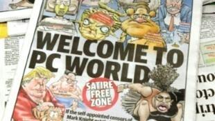 La portada del 12 de septiembre de 2018 del periódico australiano Herald Sun, en la que aparece la caricatura de la tenistas Serena Williams, en un kiosko de Melbourne, Australia