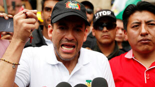 Luis Fernando Camacho, leader du comité pro-Santa Cruz, lors d'une manifestation contre Evo Morales, le 10 novembre 2019.